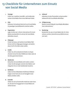 Checkliste für Unternehmen zum Einsatz von Social Media - Quelle BITKOM