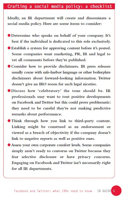 Social Media Policy Checklist