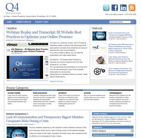 Q4 Web Systems IR Blog