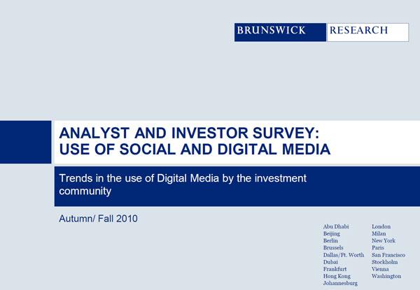 Umfrage bei Analysten und Investoren zur Social Media Nutzung - Quelle Brunswick