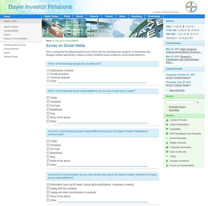 Bayer Umfrage zu Social Media