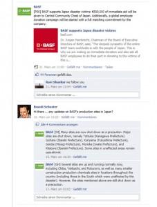Ausschnitt der BASF Facebook-Pinnwand