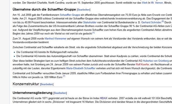 Wikipedia - Übernahme durch die Schaeffler-Gruppe