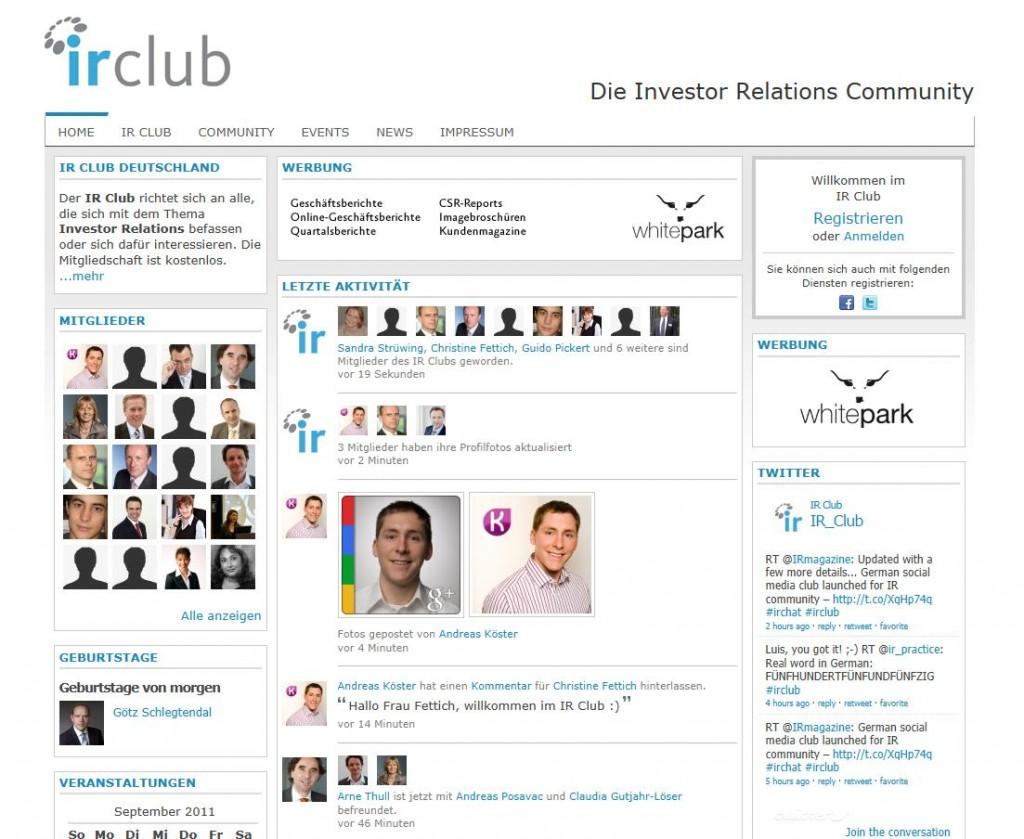 IR Club - Die Investor Relations Community Startseite