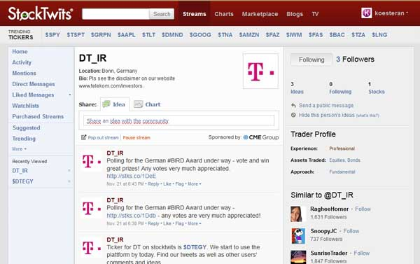 Telekom Stocktwits Ticker Symbol