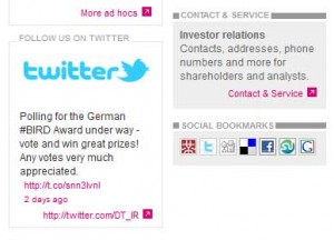 Twitter-Verlinkung auf Investor Relations Website