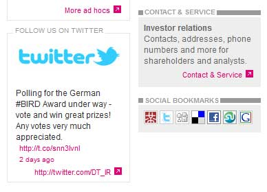 Twitter-Verlinkung auf Investor Relations Website