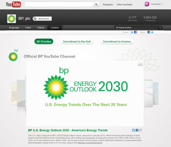 BP Investor Relations Videos auf Youtube