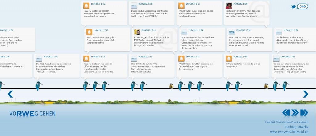 Online Zwitscherwand zur RWE Hauptversammlung 2012