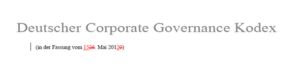 Änderungen im Deutschen Corporate Governance Kodex 2012